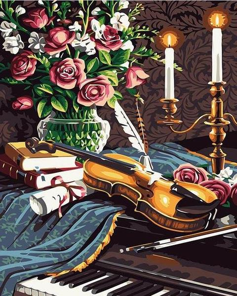 Guitar & Roses Paint by Numbers
