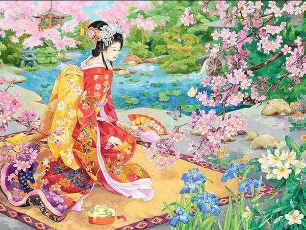 Japanese Lady in Garden Paint by Diamonds