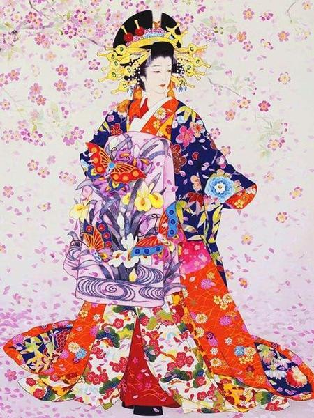 Kimonos Japanese Dress Paint by Diamonds
