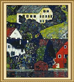 Klimt's Houses at Unterach on Attersee Paint by Numbers