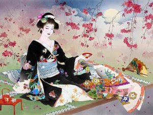 Lady in Black Kimono Paint by Diamonds