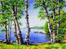 Load image into Gallery viewer, Lakeside Trees Paint by Diamonds