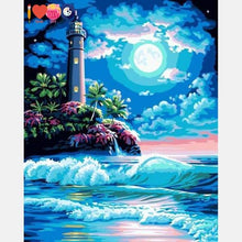 Load image into Gallery viewer, Light House at Night Paint by Numbers