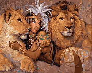 Lion Goddess Paint by Numbers