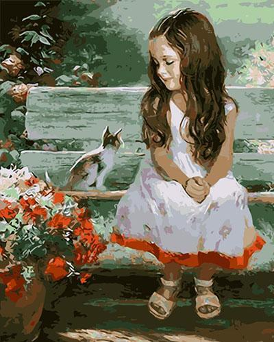 Little Girl with Cat Paint by Numbers