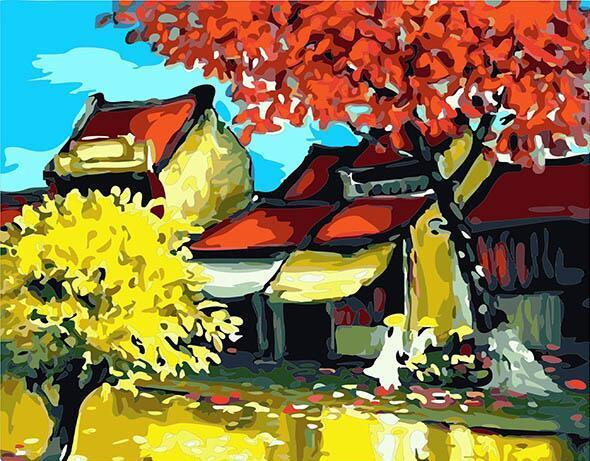 Maple Trees & Houses Paint by Numbers