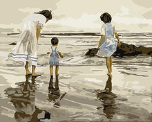 Load image into Gallery viewer, Mother & Kids on Beach Paint by Numbers