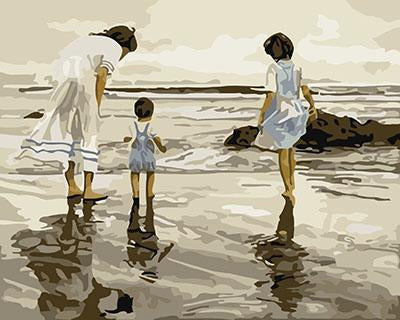 Mother & Kids on Beach Paint by Numbers