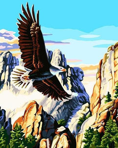 Mountains Eagle Paint by Numbers
