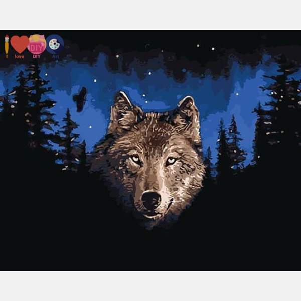 Night Wolf Paint by Numbers