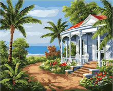 Load image into Gallery viewer, Palm Trees & House Paint by Numbers