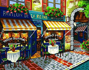 Paris Street Cafe Paint by Numbers