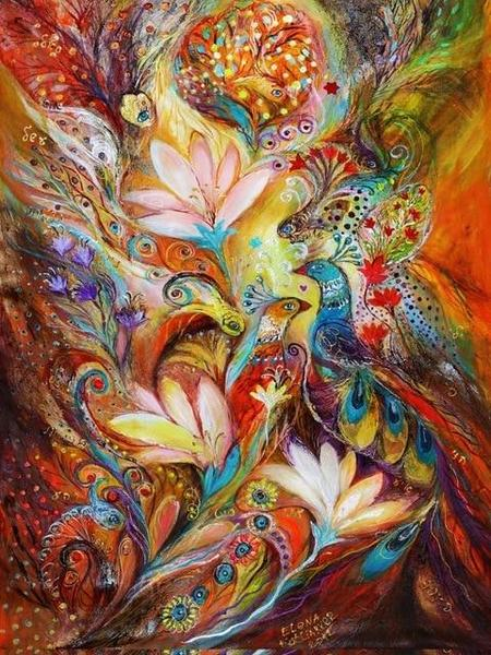 Peacocks & Flowers Art Paint by Diamonds