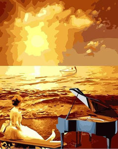 Pianist Girl at Beach Paint by Numbers