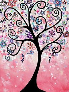Pink Flowery Tree Paint by Diamonds