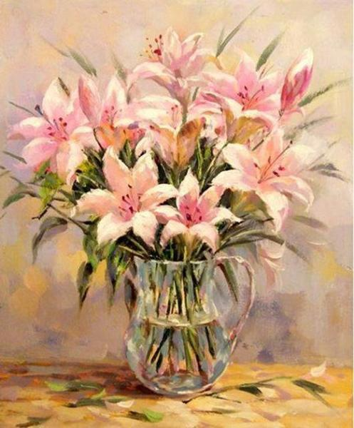 Pink Lilies Paint by Numbers