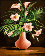 Load image into Gallery viewer, Pink Lilies & Green Leaves Paint by Numbers