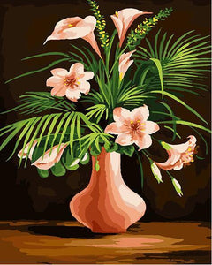 Pink Lilies & Green Leaves Paint by Numbers