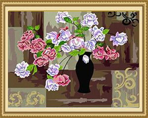 Pink & Purple Roses Paint by Numbers