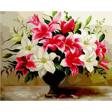 Load image into Gallery viewer, Pink & White Lilies Paint by Numbers