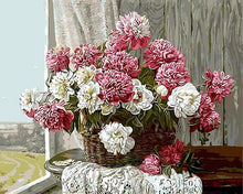 Load image into Gallery viewer, Pink & White Peonies Paint by Numbers