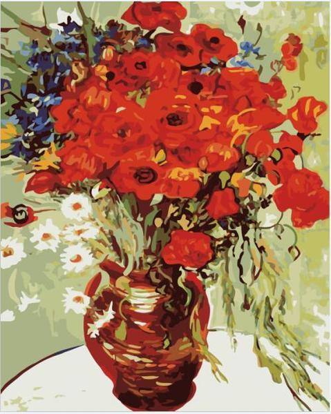 Poppies in Copper Vase Paint by Numbers