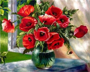 Poppies in Glass Vase Paint by Numbers