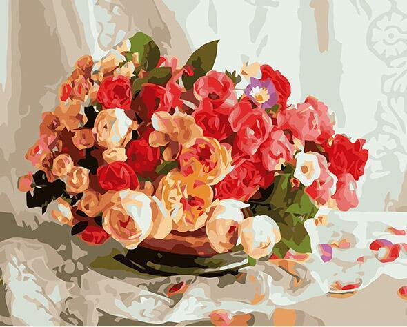 Pot full of Roses Paint by Numbers