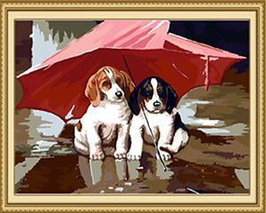 Pups & Umbrella Paint by Numbers
