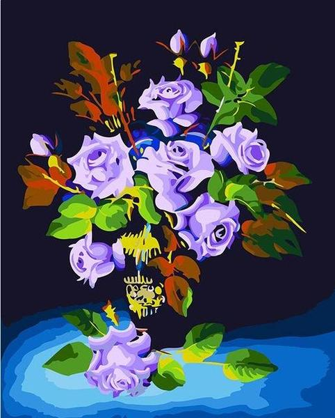 Purple Roses Paint by Numbers