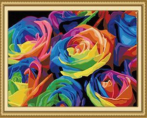 Rainbow Roses Paint by Numbers