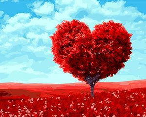 Red Heart Tree Paint by Numbers