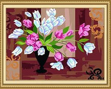 Load image into Gallery viewer, Pink & White Tulips Paint by Numbers