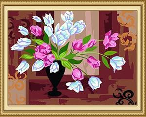 Pink & White Tulips Paint by Numbers