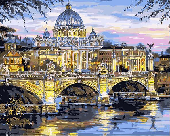 QIAOYUE Paint by Number for Rome Trevi Fountain for Adult and children painting Living room bedroom kitchen decoration canvas 40X50Cm Frameless