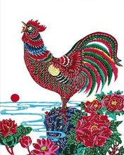 Load image into Gallery viewer, Rooster & Flowers Paint by Numbers
