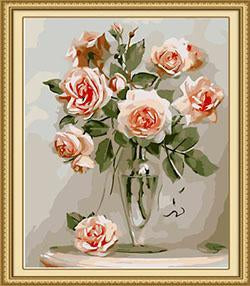 Roses in Glass Vase Paint by Numbers
