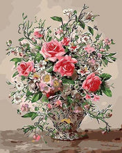 Load image into Gallery viewer, Roses in Silver Vase Paint by Numbers