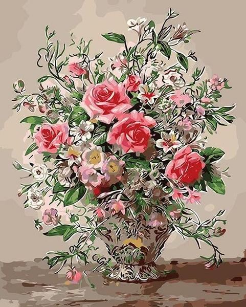 Roses in Silver Vase Paint by Numbers