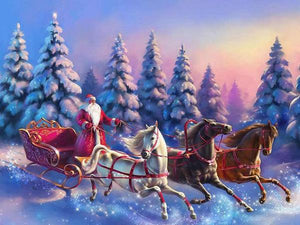Santa on Christmas Ride Paint by Diamonds