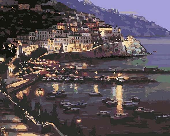 Seaside Night Scene Paint by Numbers