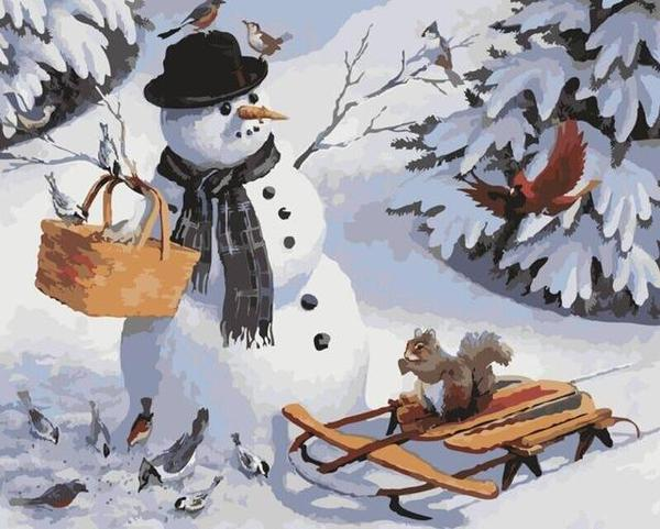 Snow Man, Birds & Squirrel Paint by Numbers