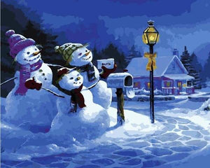 Snow Man Family Paint by Numbers