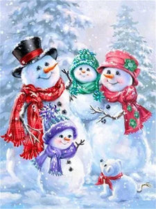 Snow Man Family Paint by Diamonds