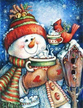 Load image into Gallery viewer, Snowman & Birdie Tea Time Paint by Diamonds