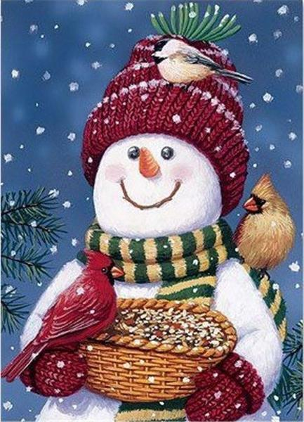 Snowman Feeding Birds Paint by Diamonds