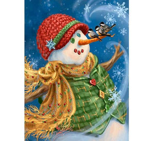 Snowman & Sparrows Paint by Diamonds