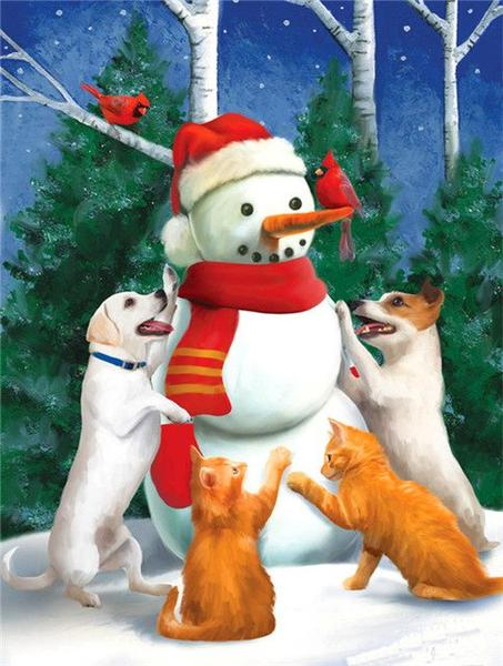 Snowman with Cats & Puppies Paint by Diamonds