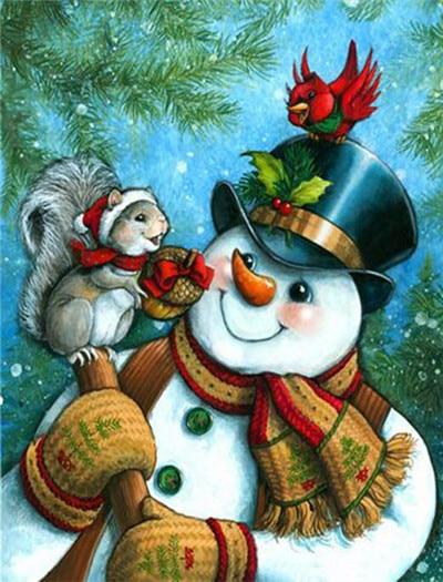 Snowman with Squirrel & Bird Paint by Diamonds