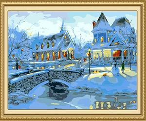 Snowy Houses Paint by Numbers